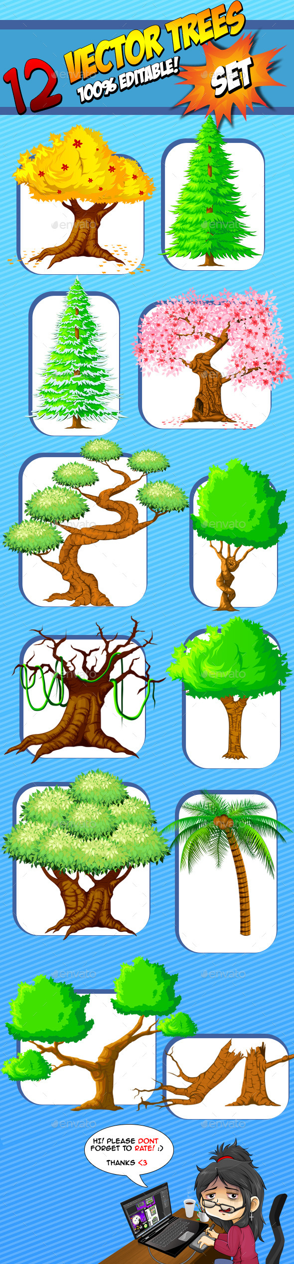 GraphicRiver Vector Trees Set 9269158