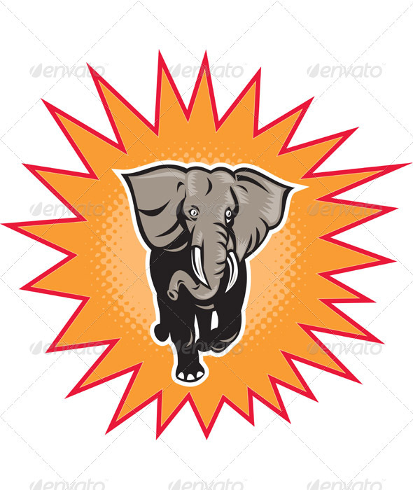 Graphic River African Elephant Charging With Halftone Dots Vectors -  Characters  Animals 946744