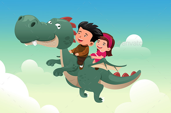 GraphicRiver Kids riding a Dragon 9269280