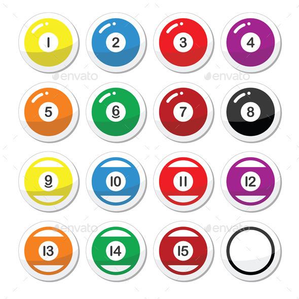 Pool Ball Billiard or Snooker Ball Icons Set