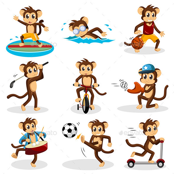 GraphicRiver Monkey doing Activity 9269436
