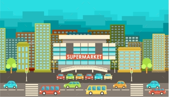 GraphicRiver Supermarket City in the Style of Flat Design 9269699