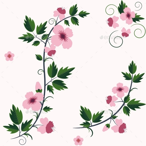 GraphicRiver Vector Retro Floral Background with Flowers 9270059