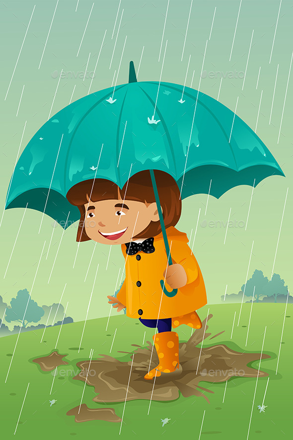 GraphicRiver Girl with Umbrella and Raincoat Playing in the Mud 9270291