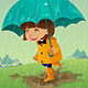 Girl with Umbrella and Raincoat Playing in the Mud - GraphicRiver Item for Sale
