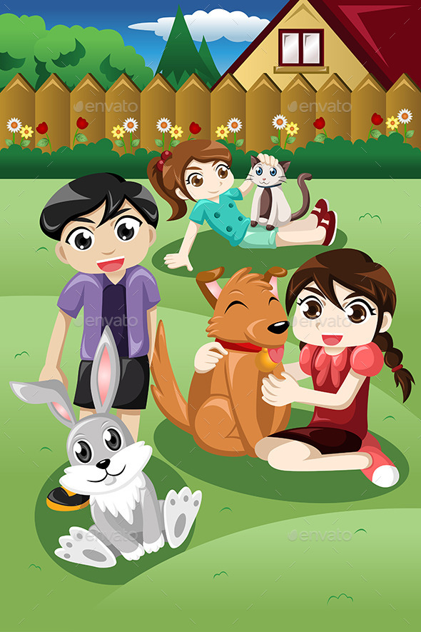 GraphicRiver Kids playing with their Pets 9270370