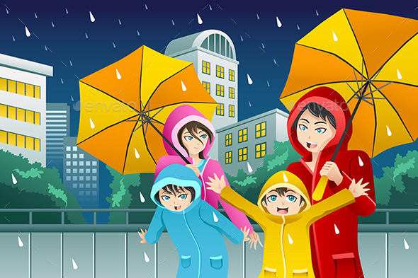 GraphicRiver Family walking with Umbrella and Wearing Raincoats 9270410
