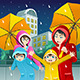 Family walking with Umbrella and Wearing Raincoats - GraphicRiver Item for Sale