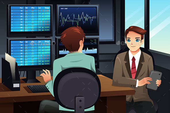 GraphicRiver Stock Trader Looking at the Stock Market Monitors 9270435