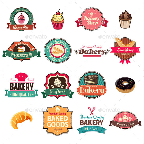 GraphicRiver Vintage Bakery Collection of Icons and Tags 9270478