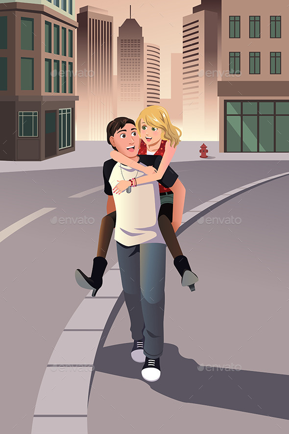 GraphicRiver Man Giving Piggyback Ride to his Girlfriend 9270674