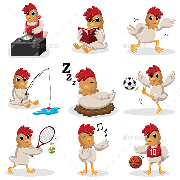 GraphicRiver Chicken Characters Doing Different Activities 9270683