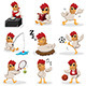 Chicken Characters Doing Different Activities - GraphicRiver Item for Sale