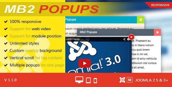 Mb2 Popups Joomla Popup Module