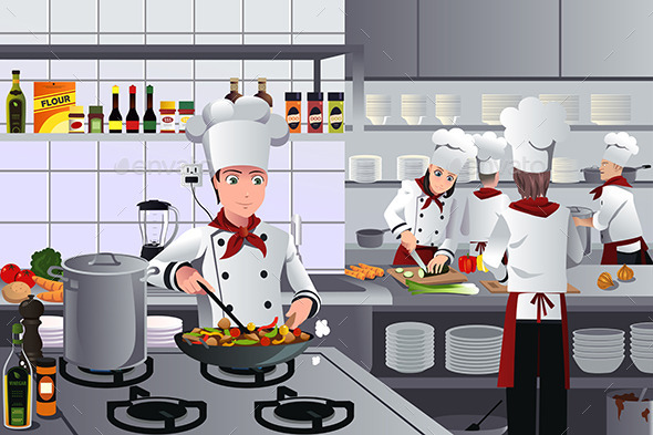 GraphicRiver Scene Inside Restaurant Kitchen 9270707