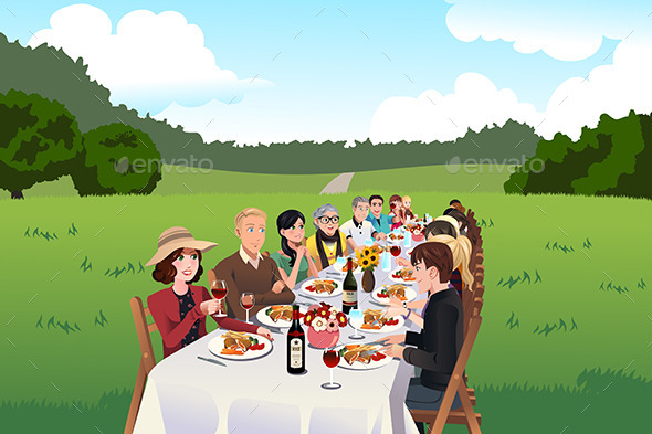 People Eating at a Farm Table