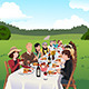 People Eating at a Farm Table - GraphicRiver Item for Sale