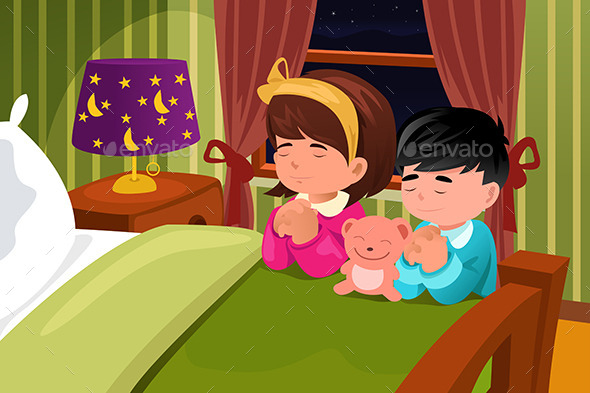 GraphicRiver Kids Praying Before Going to Bed 9270887
