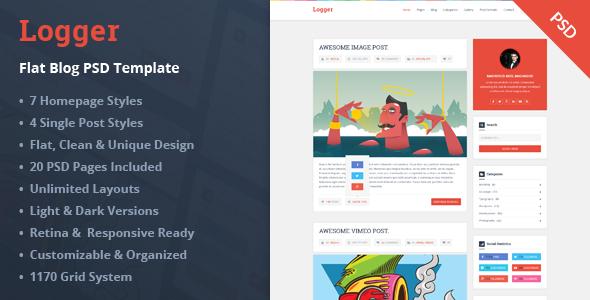 Logger – Flat Blog PSD Template - Miscellaneous PSD Templates