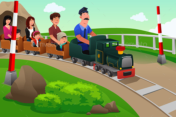 GraphicRiver Kids and Their Parents Riding a Small Train 9271078