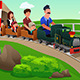 Kids and Their Parents Riding a Small Train - GraphicRiver Item for Sale
