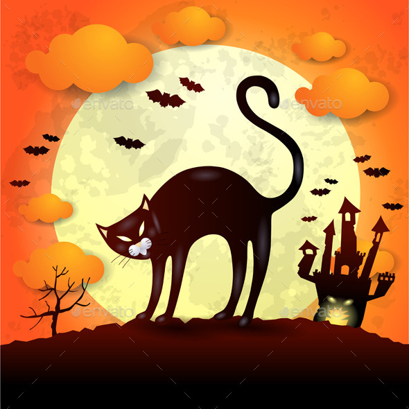GraphicRiver Halloween Bakground with Black Cat 9271330