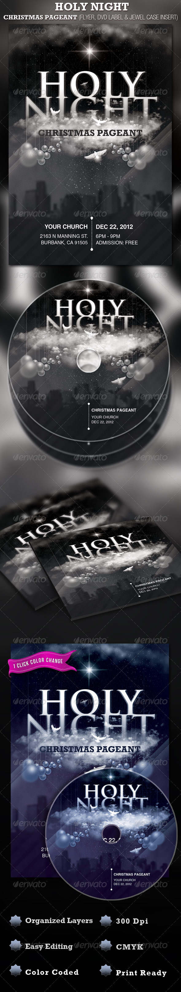 GraphicRiver Holy Night Chirstmas Flyer and CD Label Template 946974