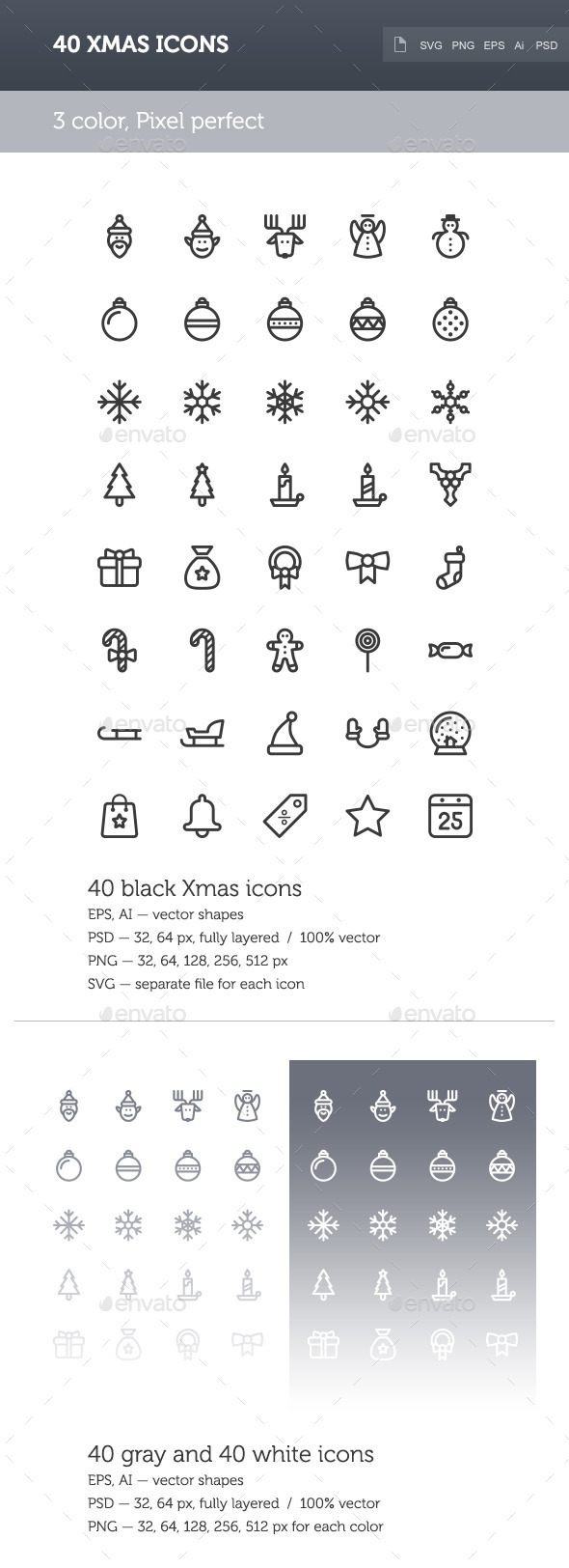 GraphicRiver Xmas Icon Set 9271512