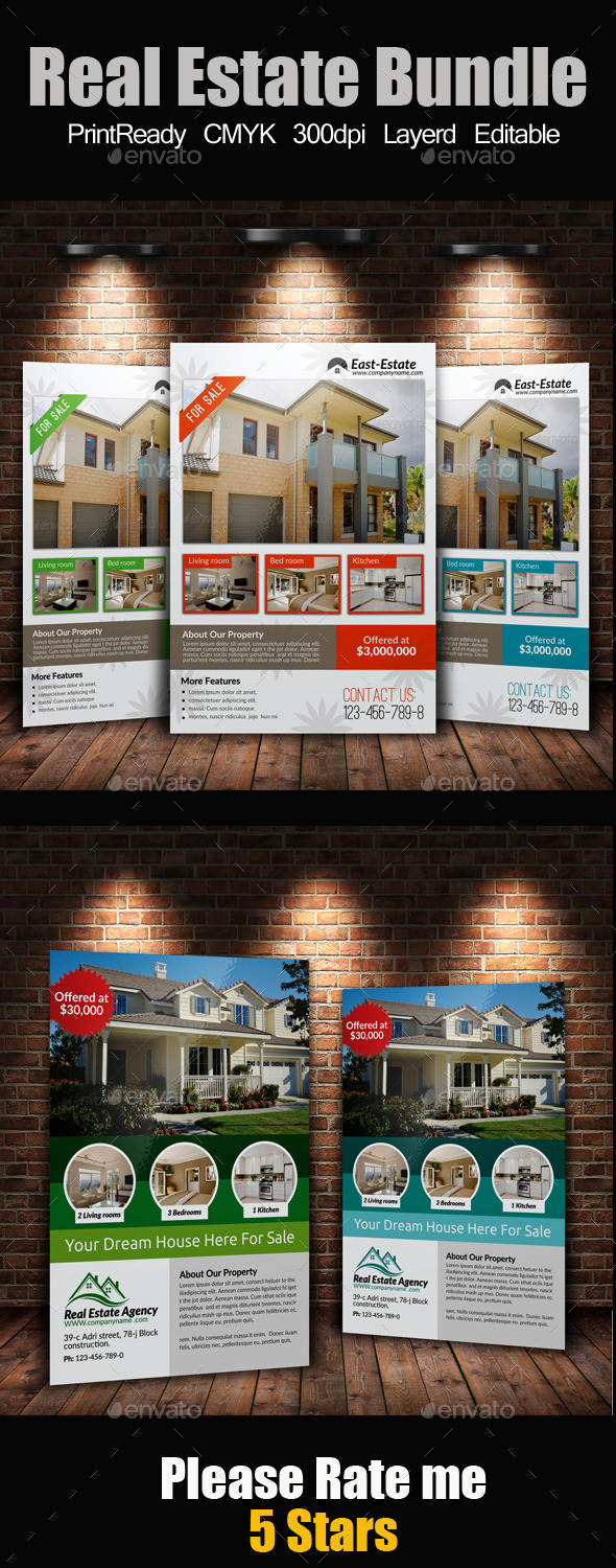 GraphicRiver A4 Real Estate Flyers Bundle 9272168
