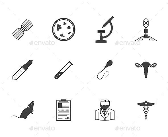 GraphicRiver Black Icons for Genetics 9272535
