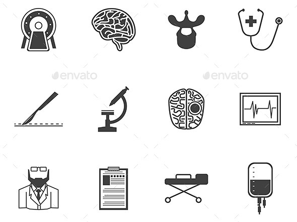 GraphicRiver Black Icons for Neurosurgery 9272653
