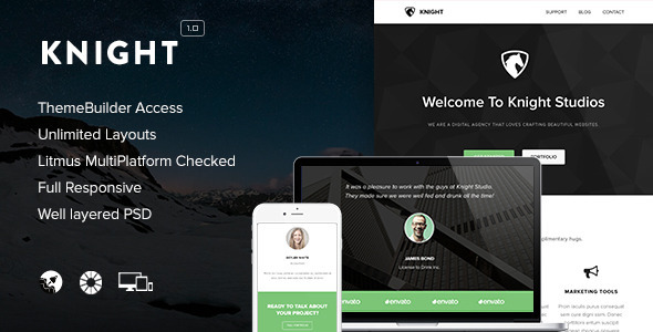 ThemeForest Knight Responsive Email & Themebuilder Access 9272748