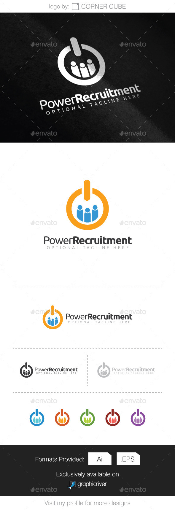 GraphicRiver Power Recruitment Logo 9272760
