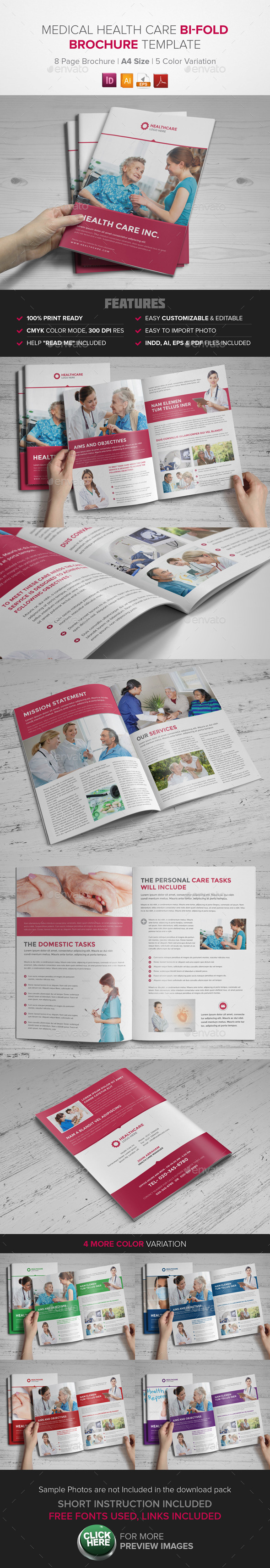 GraphicRiver Medical Health Care Bifold Brochure InDesign 9272838