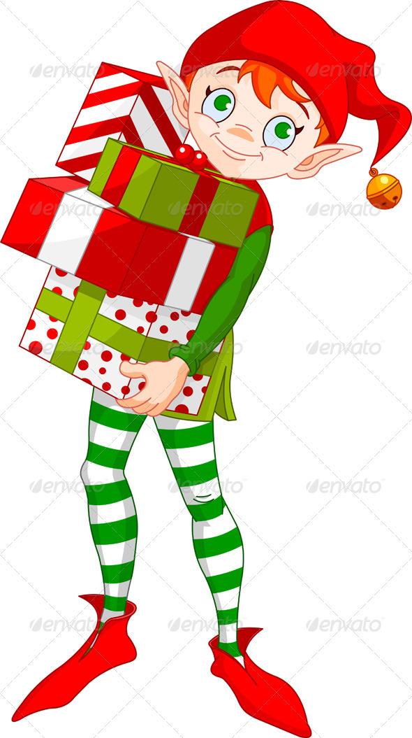 Graphic River Christmas Elf with gifts Vectors -  Conceptual  Seasons/Holidays  Christmas 947000