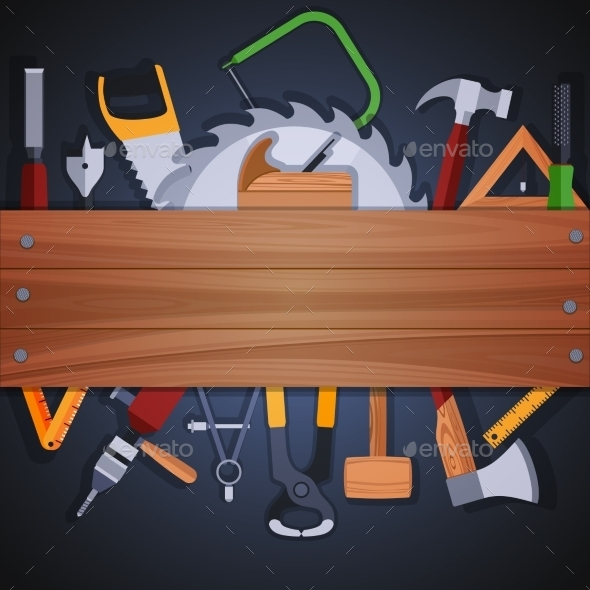 GraphicRiver Carpentry Tools Background 9273299