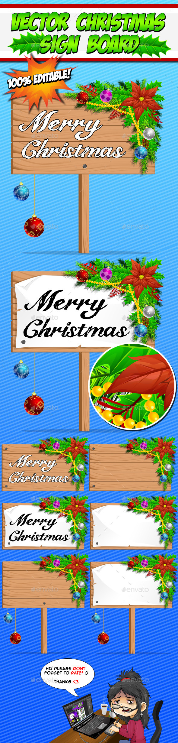 Vector Christmas Sign Boards