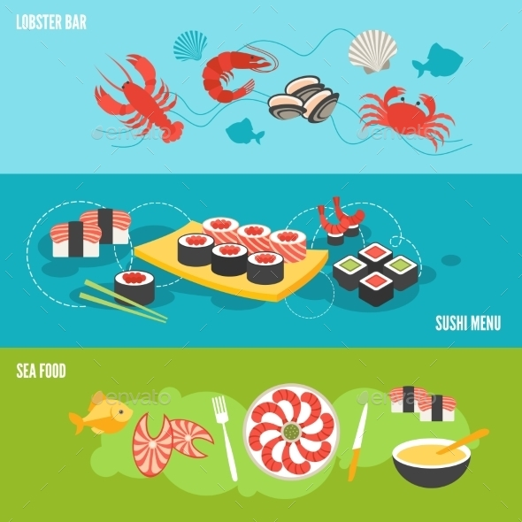 GraphicRiver Seafood Banner Set 9273554