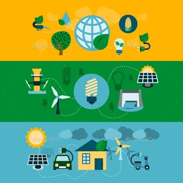 GraphicRiver Eco Energy Horizontal Banners Set 9273591