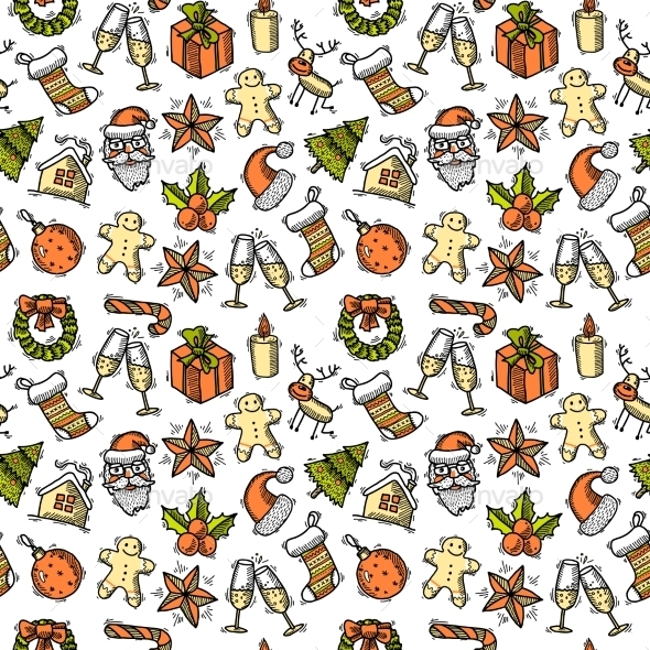 GraphicRiver Christmas Seamless Pattern Color 9273828