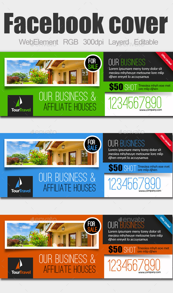 GraphicRiver Real Estate Facebook Covers 9224476