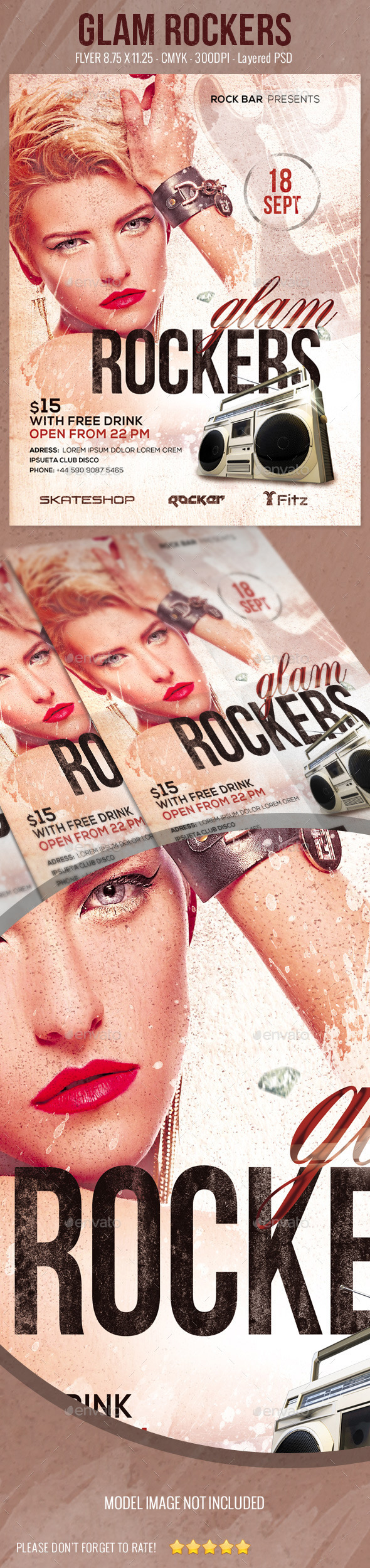 GraphicRiver Glam Rockers Flyer 9230759