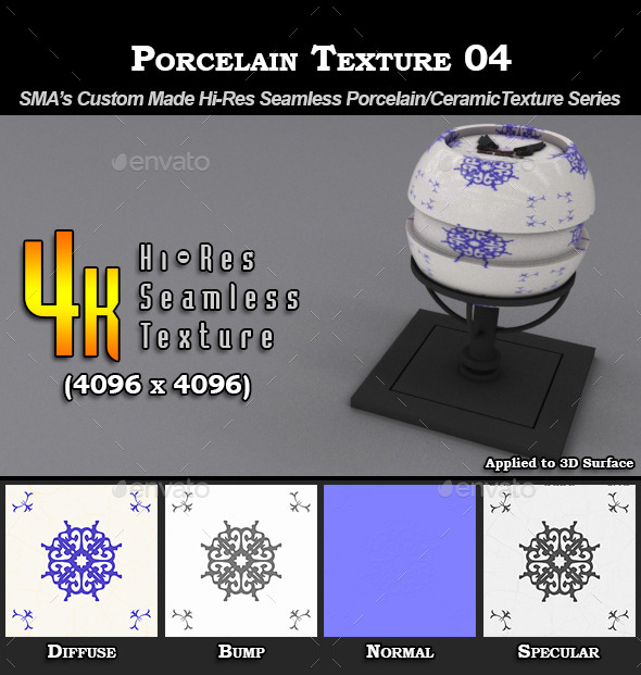 Hi-Res Porcelain Texture - 04 - 3DOcean Item for Sale