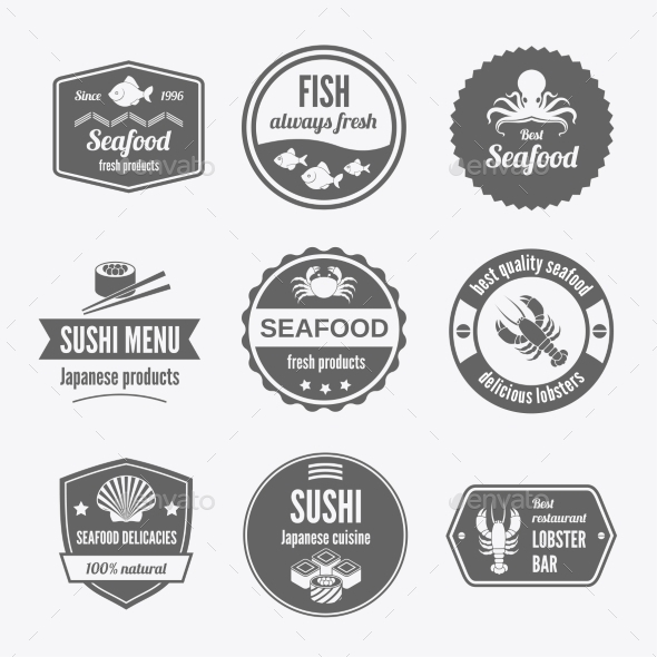 GraphicRiver Seafood Label Set 9274865