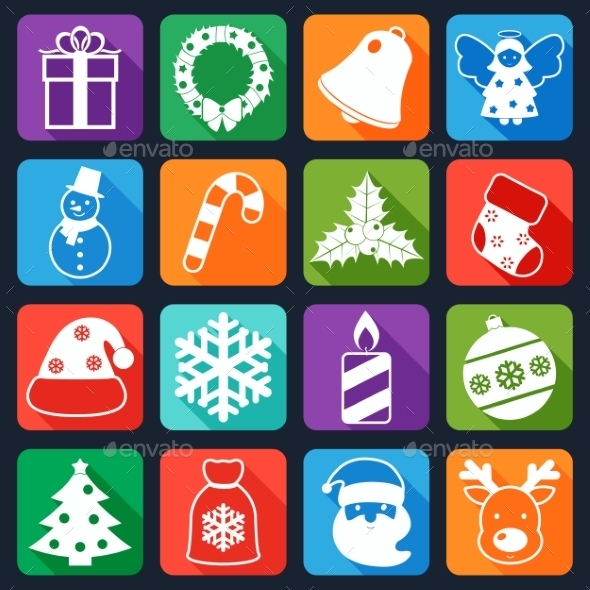 GraphicRiver Christmas Icons Set Flat 9275066
