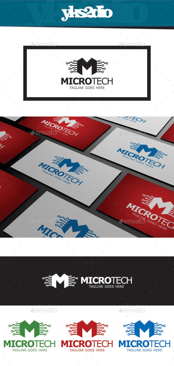 GraphicRiver Letter M Microtech Logo 9275680