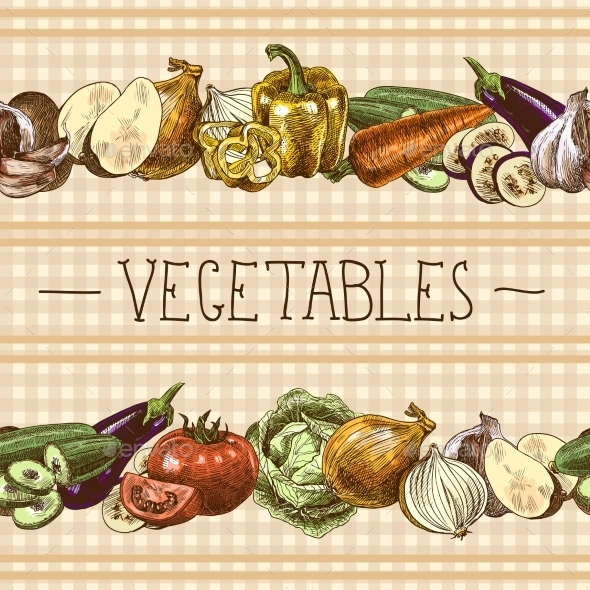 Vegetables Seamless Pattern Border