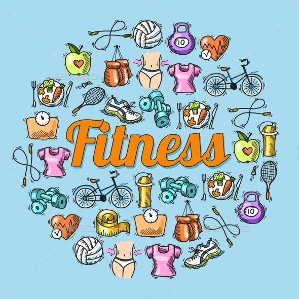 GraphicRiver Fitness Sketch Illustration 9275837