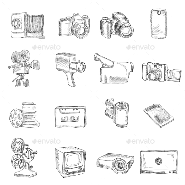 GraphicRiver Photo Video Doodle Icons 9275841