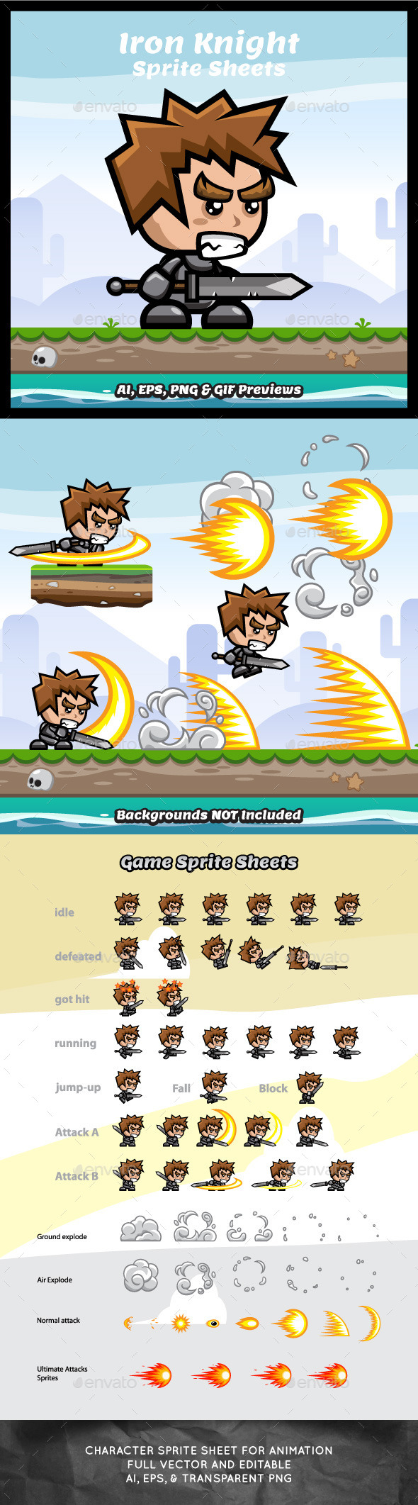 Iron Knight Game Character Sprite Sheets